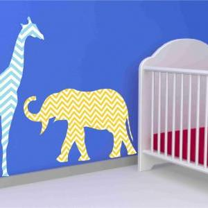 Giraffe and Elephant Fabric Wall De..