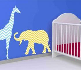 Giraffe and Elephant Fabric Wall Decal Set in Chevron Pattern
