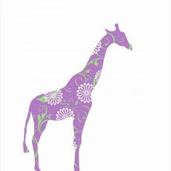Lavender Giraffe Fabric Wall Decal for Nursery