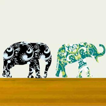 Elephant Wall Decals Set for Nursery