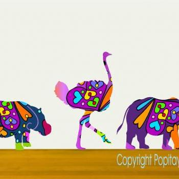 Kids wall decor colorful rhino ostrich and hippo wall decals